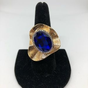 Blue and gold statement ring